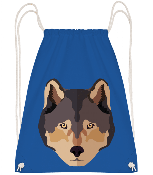 Wolf Comic Shadow - Drawstring Backpack - Royal blue - Vorn