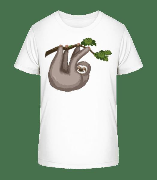 Sloth Hanging On A Branch - Kid's Premium Bio T-Shirt - White - Vorn