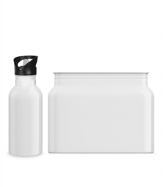 Water bottle with straw 600 ml - White - Front