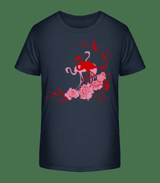Flamingos Flowers - Kinder Premium Bio T-Shirt - Marine - Vorn