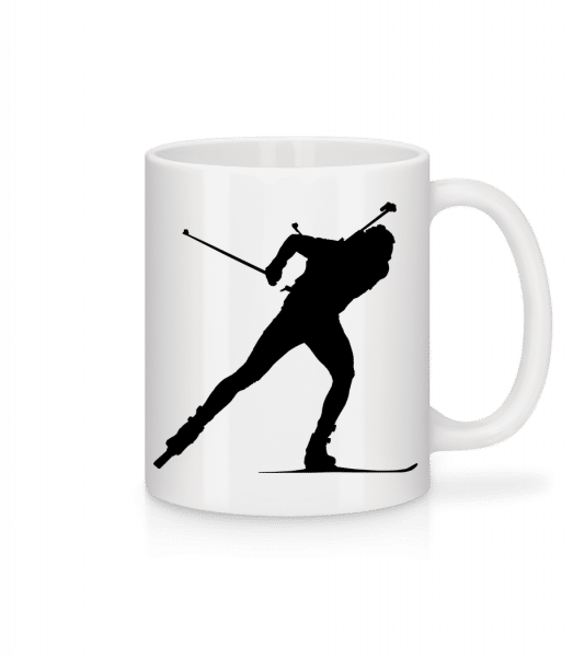 Skiing Cross Country Black - Mug - White - Front