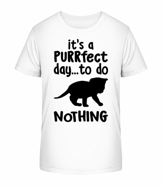 It's A Purrfect Day - Kinder Premium Bio T-Shirt - Weiß - Vorn