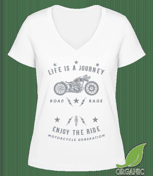 Life Is A Journey - Janet Bio T-Shirt V-Ausschnitt - Weiß - Vorn