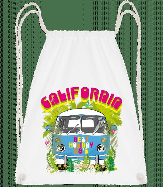 California Bus - Drawstring Backpack - White - Vorn