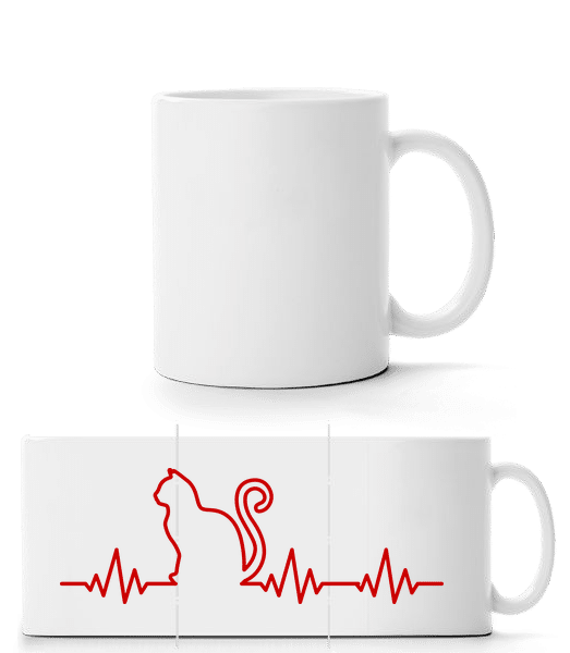 Heartbeat Cat - Panorama Mug - White - Vorn