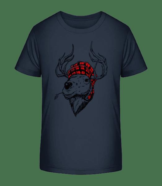 Christmas Reindeer - Kid's Premium Bio T-Shirt - Navy - Vorn