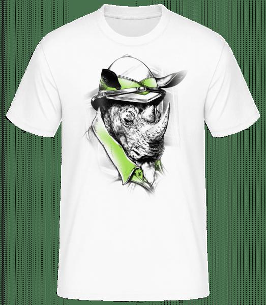 Safari Rhino - Pánske basic tričko - Biela - Predné