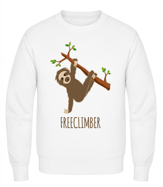 Freeclimber Sloth - Classic Set-In Sweatshirt - White - Vorn