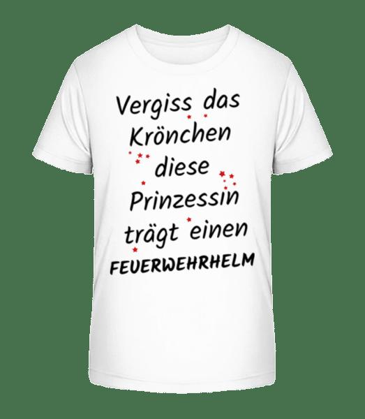 Prinzessin Trägt Feuerwerhelm - Kinder Premium Bio T-Shirt - Weiß - Vorn