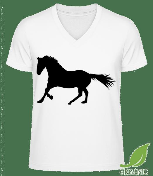 "Horse - ""James"" Organic V-Neck T-Shirt - White - Vorn"