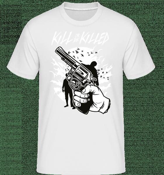 Zombie Shooter -  Shirtinator tričko pre pánov - Biela - Predné