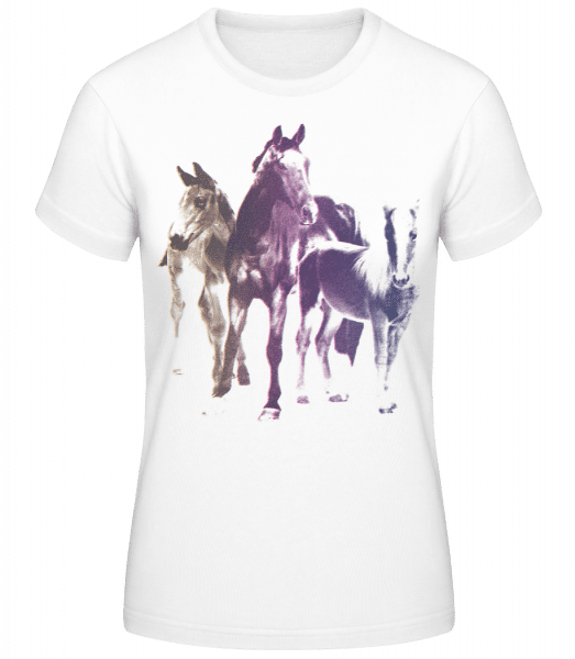 Polaroid Pferde - Frauen Basic T-Shirt - Weiß - Vorn