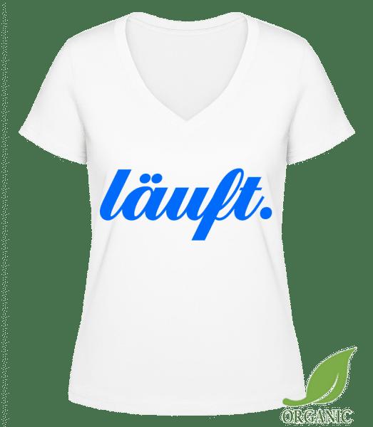 Läuft. - Janet Bio T-Shirt V-Ausschnitt - Weiß - Vorn