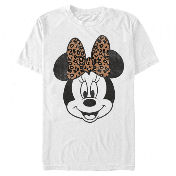 Modern Minnie Face Leopard Minnie Mouse - Disney Mickey - Men's T-Shirt - White - Front
