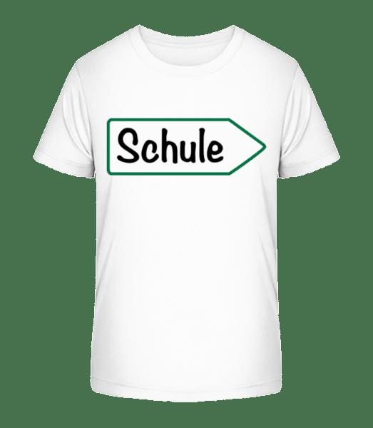 Schule Schild - Kinder Premium Bio T-Shirt - Weiß - Vorn