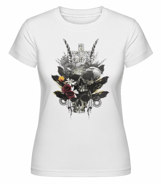 Feather Skulls -  Shirtinator Women's T-Shirt - White - Vorn
