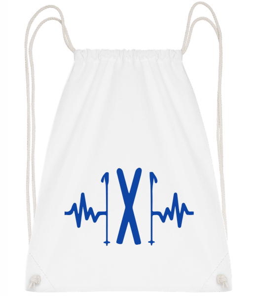 Ski Heartbeat - Drawstring Backpack - White - Vorn