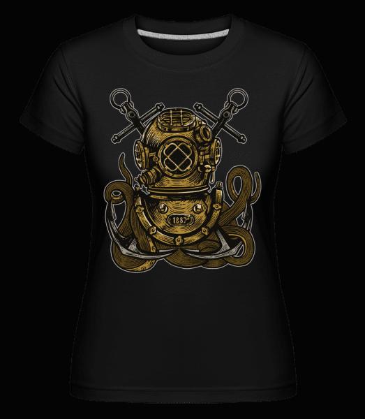 Diver Octopus -  Shirtinator Women's T-Shirt - Black - Front