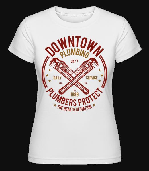 Downtown Plumbing -  Shirtinator tričko pro dámy - Bílá - Napřed