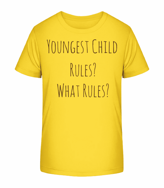 Youngest Child - Kid's Premium Bio T-Shirt - Yellow - Front