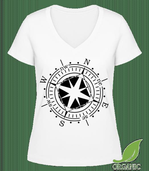 "Compass - ""Janet"" Organic V-Neck T-Shirt - White - Vorn"