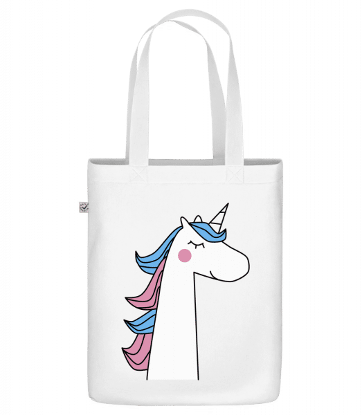 "Cute Unicorn - Organic ""Earth Positive"" tote bag - White - Front"