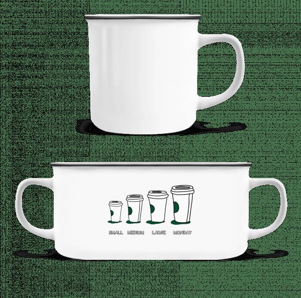 Coffee Small Medium Large Monday - Emaille-Tasse - Weiß - Vorn