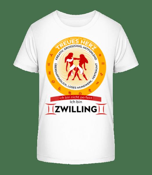 Sternzeichen Zwillinge - Kinder Premium Bio T-Shirt - Weiß - Vorn