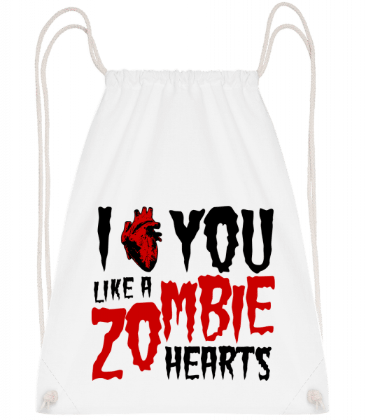 I Like You Like A Zombie Hearts - Drawstring Backpack - White - Vorn