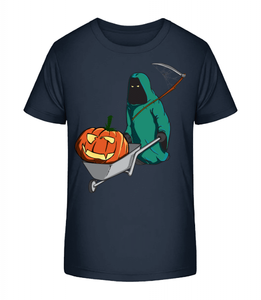 Halloween smrtka - Detské Premium Bio tričko - Namořnická modrá - Napřed
