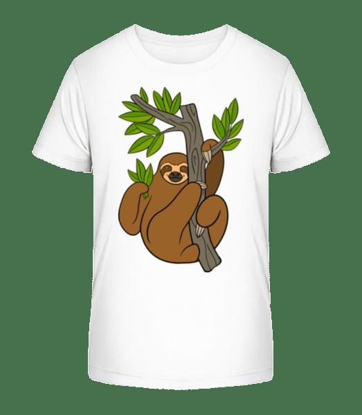 Sloth On The Tree - Kid's Premium Bio T-Shirt - White - Vorn