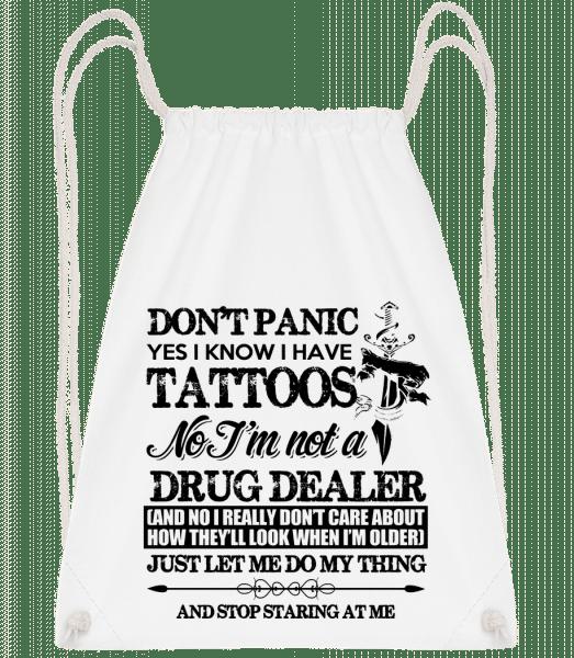 Tattoo Don't Panic - Drawstring Backpack - White - Vorn