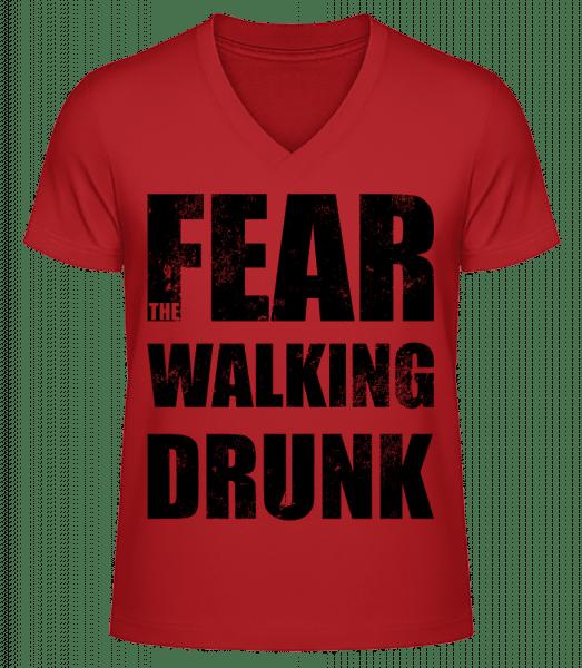 Fear Walking Drunk - Men's V-Neck Organic T-Shirt - Red - Front
