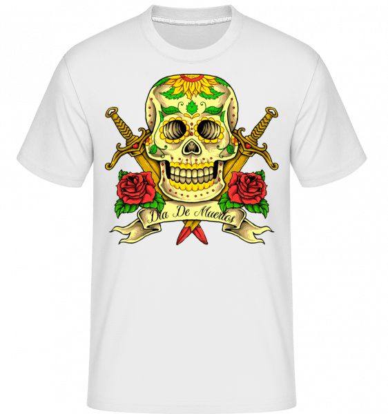 Day Of The Dead Skull -  T-Shirt Shirtinator homme - Blanc - Vorn