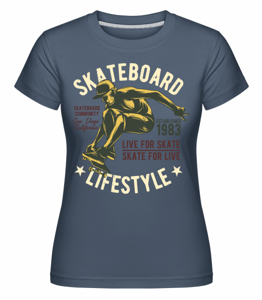 Skateboard Lifestyle -  Shirtinator Women's T-Shirt - Denim - Front