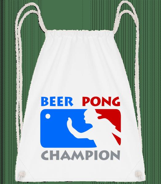 Beer Pong Champion - Drawstring Backpack - White - Vorn