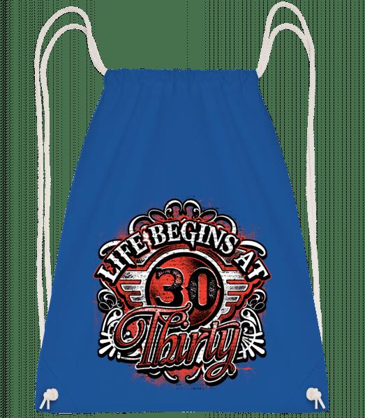 Life Begins At 30 - Drawstring Backpack - Royal blue - Vorn