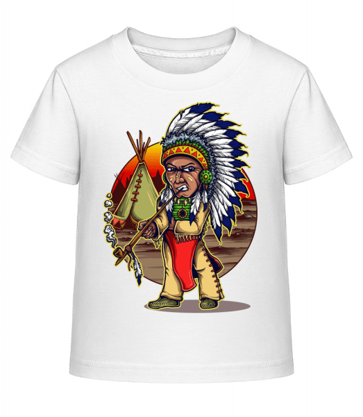 Smoking Indian - Kid's Shirtinator T-Shirt - White - Vorn
