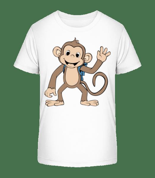 Roztomilý Monkey S Bag - Detské Premium Bio tričko - Biela - Predné
