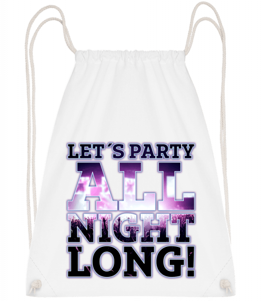 Party All Night Long - Drawstring Backpack - White - Vorn