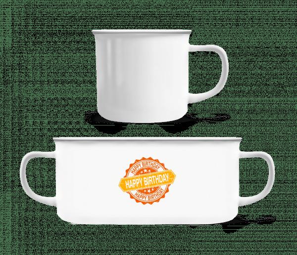 Happy Birthday Logo - Enamel-cup - White - Vorn