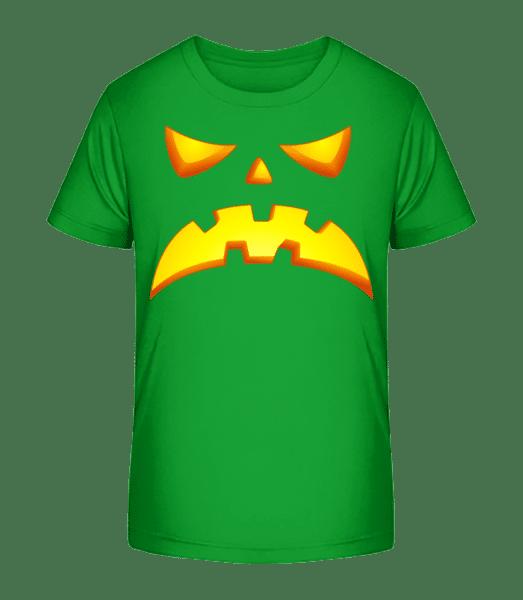 Kürbisgesicht Böse - Kinder Premium Bio T-Shirt - Grün - Vorn