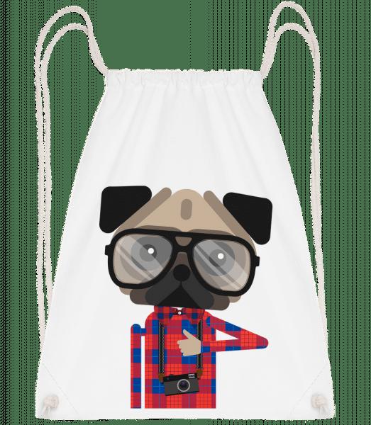 Nerdy Dog - Drawstring batoh so šnúrkami - Biela - Predné