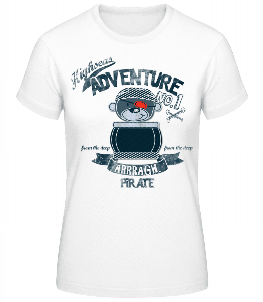 Pirate Teddy Adventure - Women's Basic T-Shirt - White - Vorn