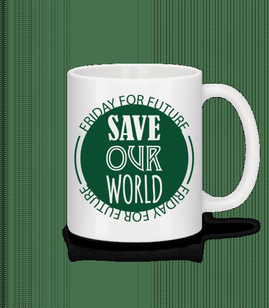 Save Our World - Keramický hrnek - Bílá - Napřed