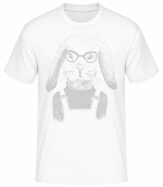 Hipster Rabbit - Men's Basic T-Shirt - White - Front