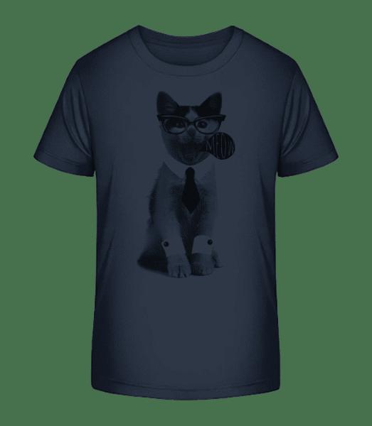 Hipster Cat - Kid's Premium Bio T-Shirt - Navy - Vorn