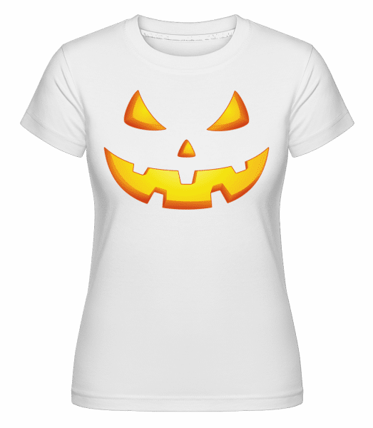 Pumpkin Face Evil -  Shirtinator Women's T-Shirt - White - Vorn