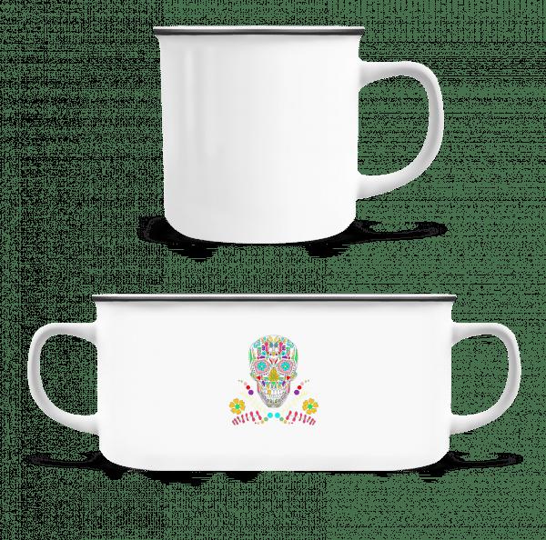 Colorful Skull - Enamel-cup - White - Vorn