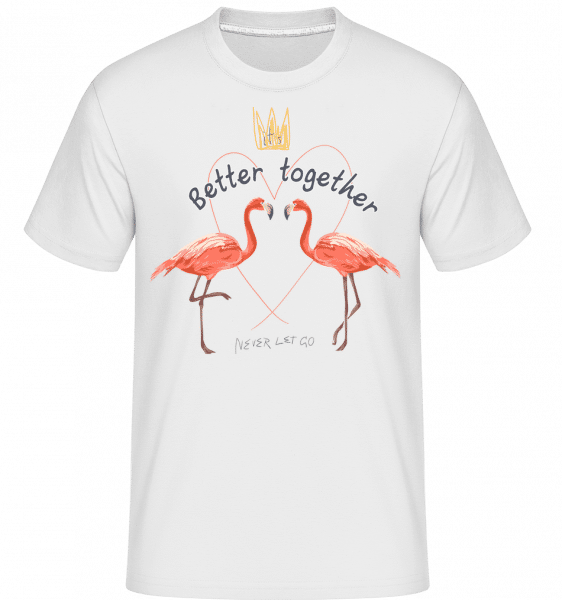 Better Together Flamingos -  Shirtinator Men's T-Shirt - White - Vorn